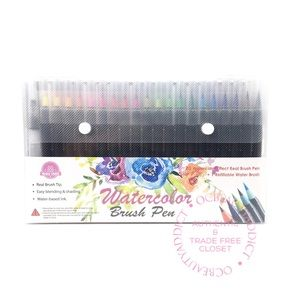 Watercolor Brush Art Pens - 20 Markers + Paper Pad